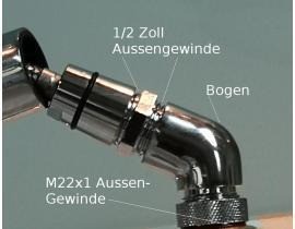 Bogen-Anschluß mit M22 AG |  für Küchen Armaturen mit ausziehbarem Brauseschlauch M15 oder 1/2