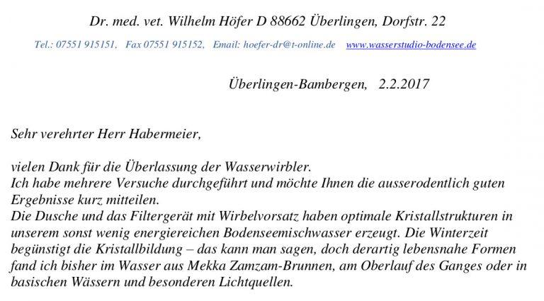 Anschreiben Dr. Höfer