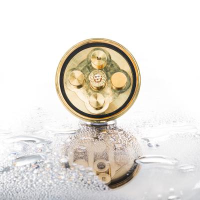 Wirbelduschen Platte Gold mit 5 Wirbelkammern